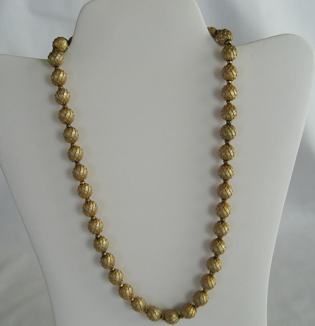 Trifari Gold Tone Beaded Necklace From Thedaisychain On
