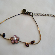 Dainty Express Ankle Bracelet With Pink Flower
