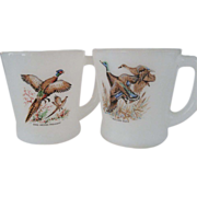 Two Fire King Game Bird Mugs