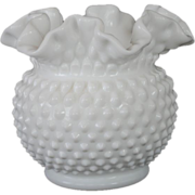 Fenton White Milk Glass Hobnail Squat Vase - 5 1/2""