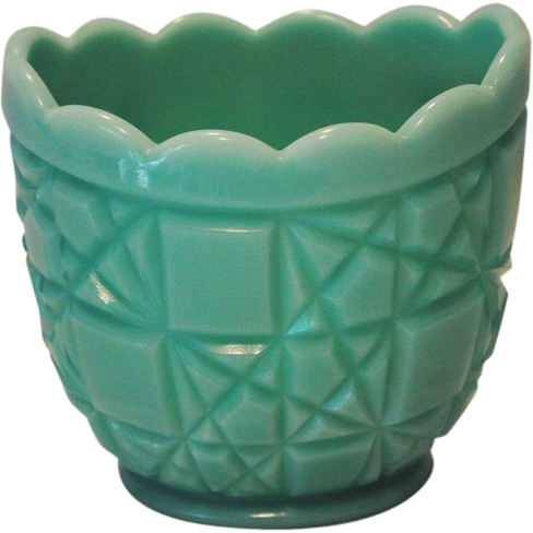 Fenton Turquoise Block & Star Open Sugar