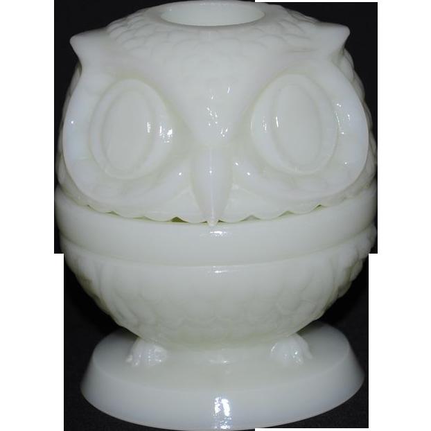 Fenton Shiny Custard Owl Fairy Light