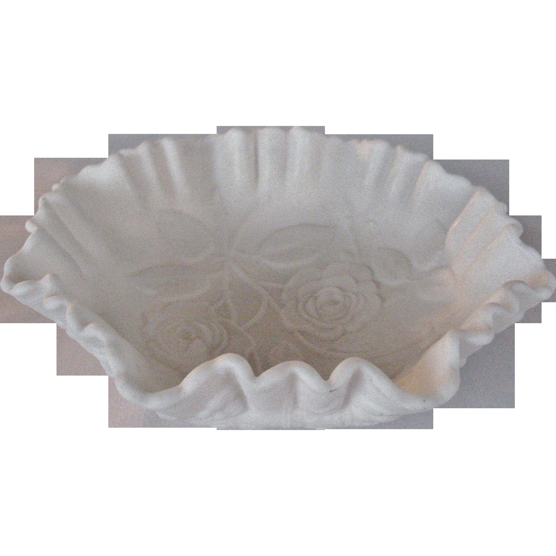 Imperial Glass White Satin Bowl - Roses