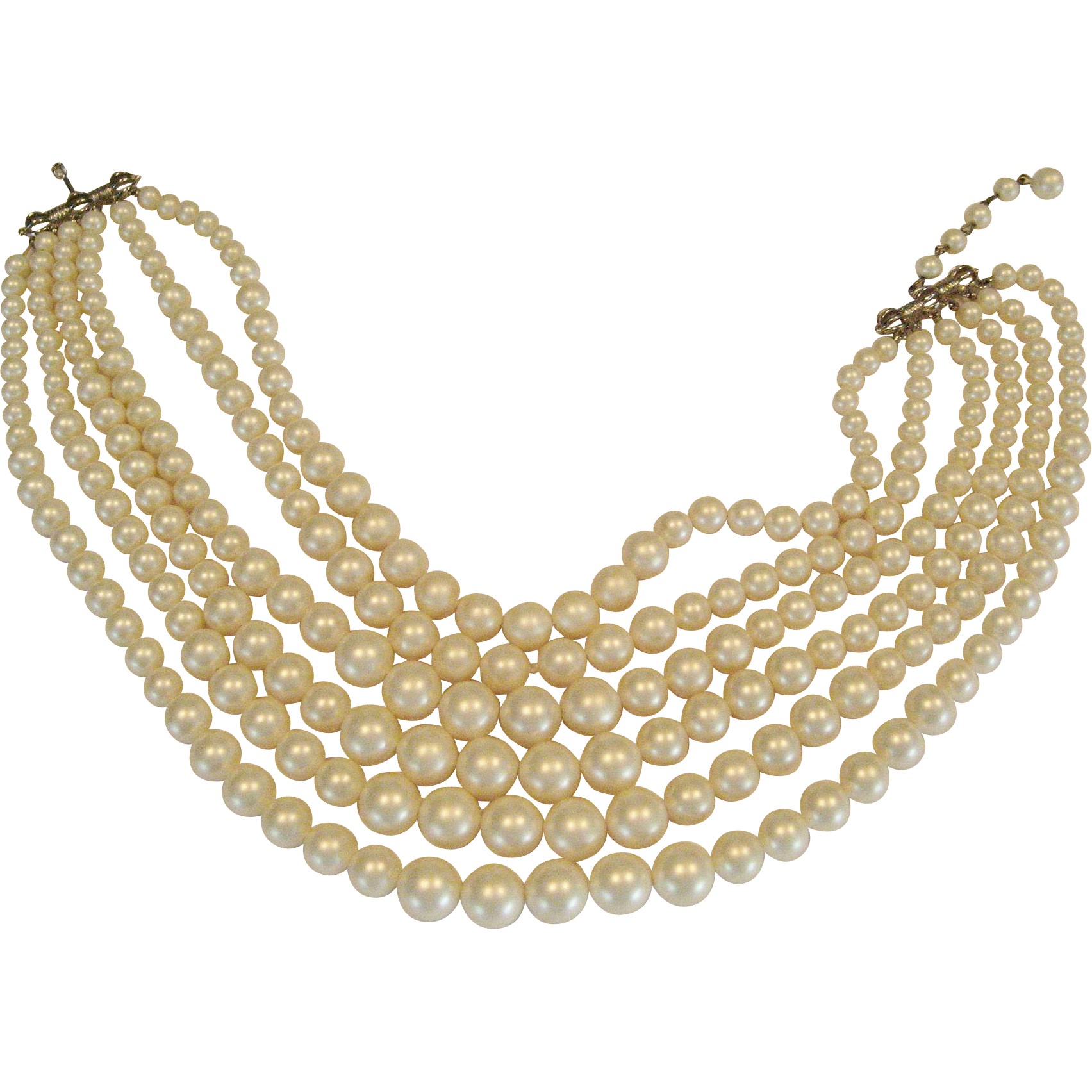 Marvella 6 Strand Faux Pearl Necklace
