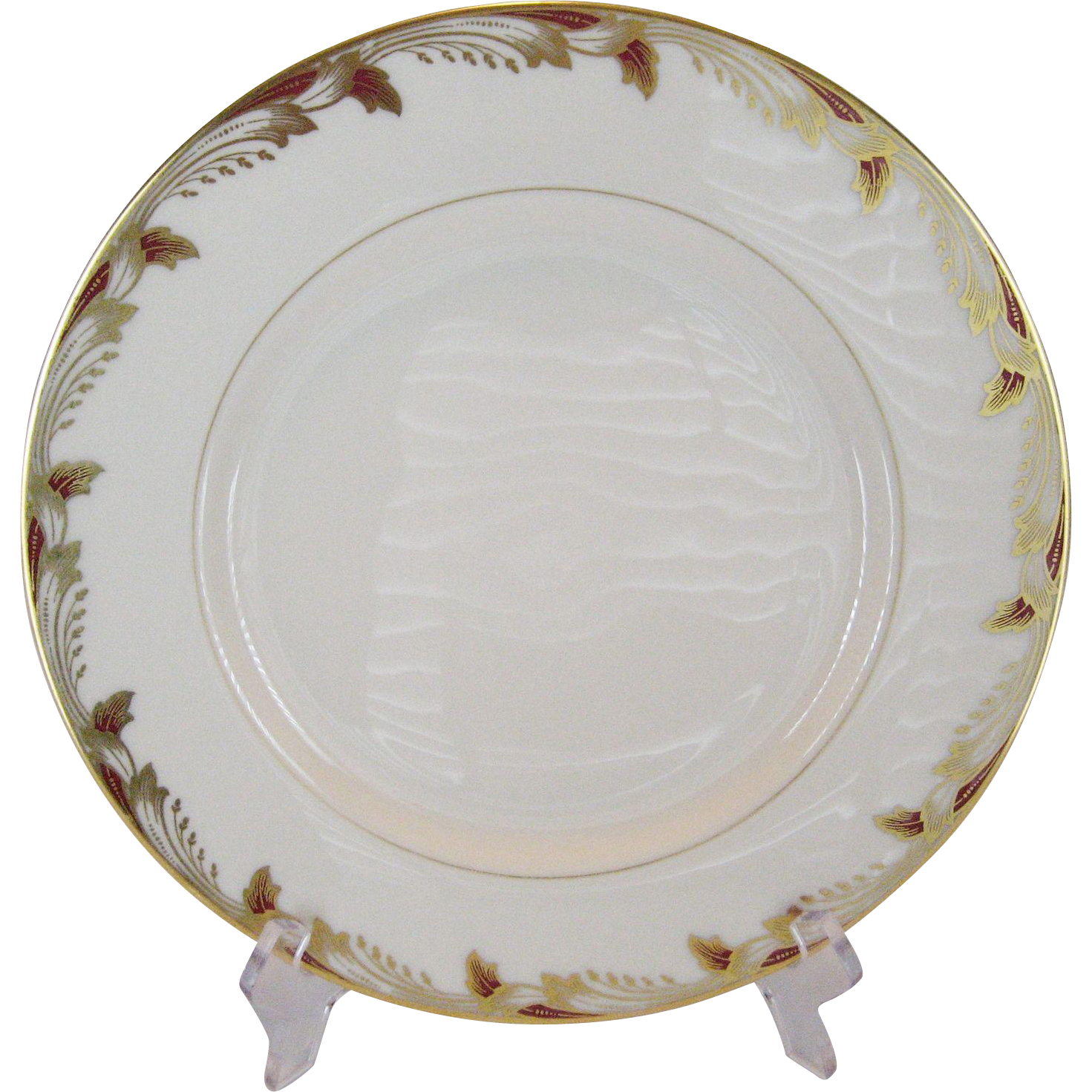 Lenox Essex Maroon Smooth Dinner Plates - 10 Available