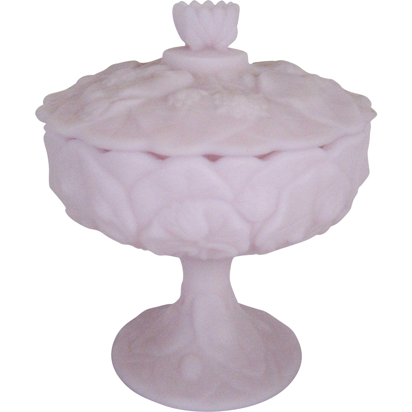 "Fenton Lavender Satin ""Water Lily"" Footed Covered Candy Box"
