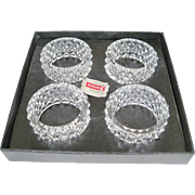"Set of 4 Fostoria ""Heritage"" Crystal Napkin Rings"