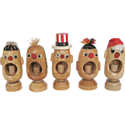 Set of 5 Wooden Nut Crackers