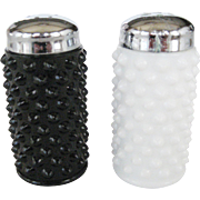 Fenton Black and White Hobnail Salt & Pepper Shakers