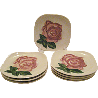 "8 Red Wing ""Lexington"" Square Salad Plates"