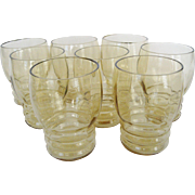 Set of 8 Federal Glass Tudor Ring Tumblers