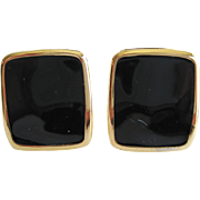 Monet Black and Gold-tone Clip Earrings