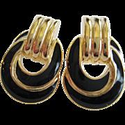 Trifari Black and Gold-tone Door Knocker Post Earrings