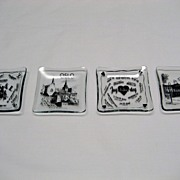 4 Clear Glass and Black Print European Theme Ashtrays