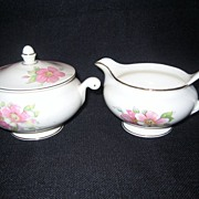 Homer Laughlin Wild Pink Rose Creamer And Covered Sugar