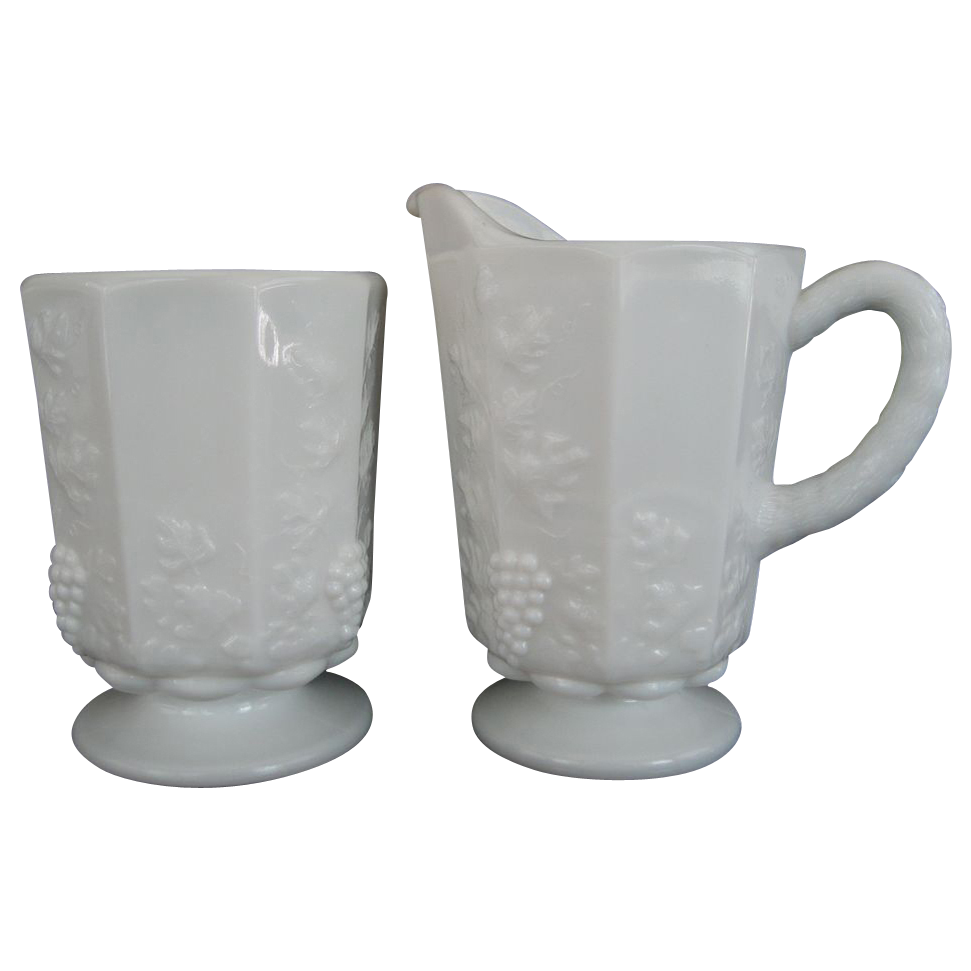 Westmoreland Paneled Grape Open Sugar and Creamer
