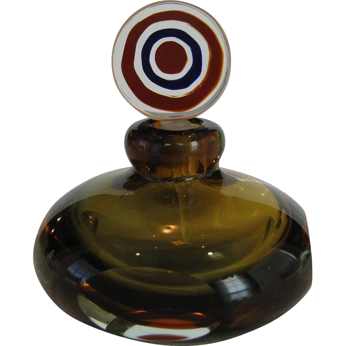 Murano Green and Amber Glass Perfume