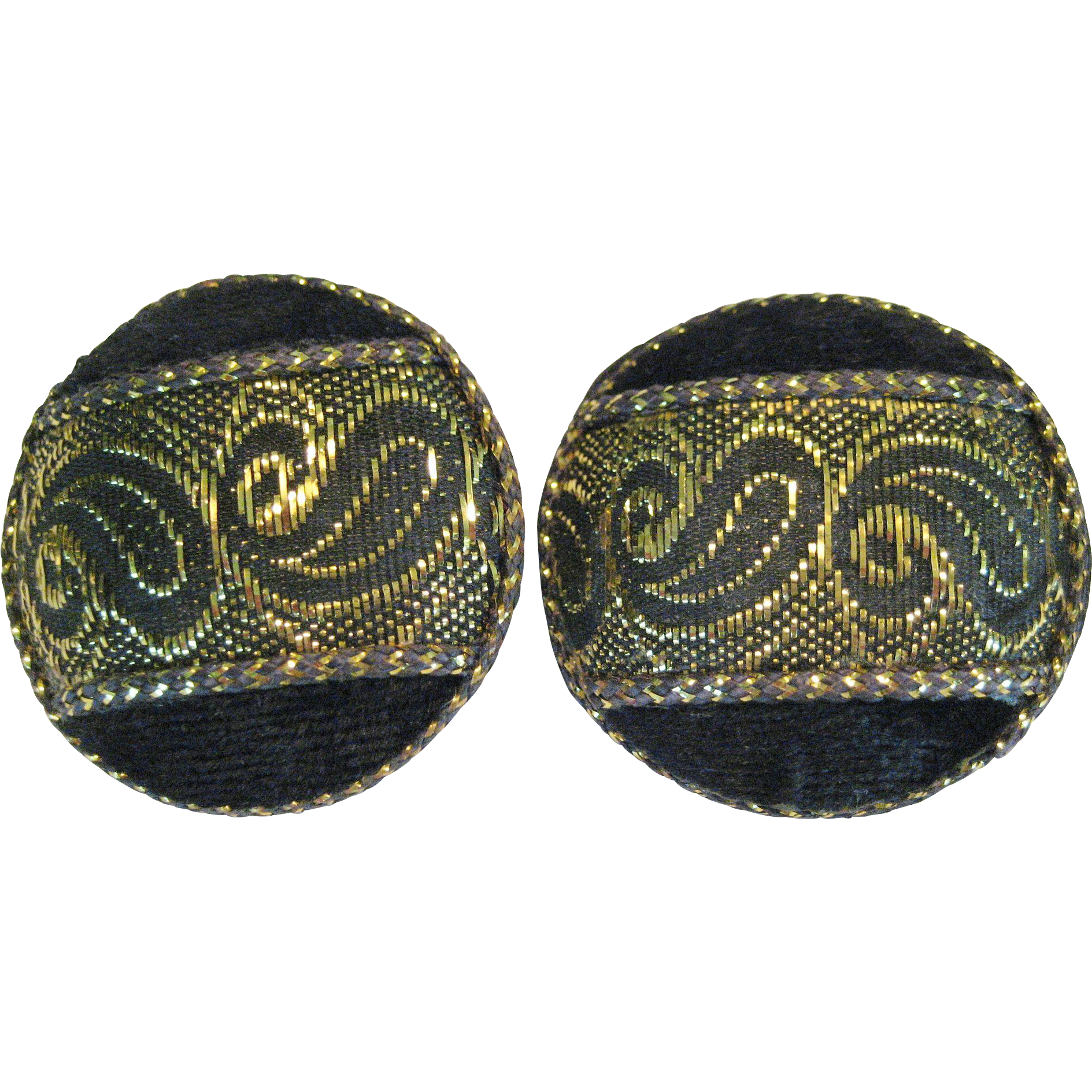 Large Black and Gold-tone Button Style Clip Earrings