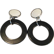 White Button Clip Earrings With Black Door Knocker Rings
