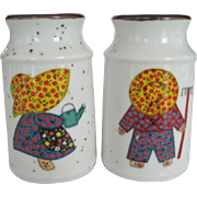 Enesco Milk Can Salt & Pepper Shakers - Boy and Girl Gardeners