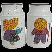 Enesco Milk Can Salt & Pepper Shakers - Boy and Girl Gardeners