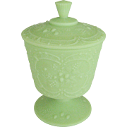 Fenton Art Glass Lime Green Satin Covered Candy - Wild Strawberry