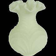 Fenton Custard Satin Drapery Vase