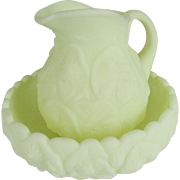 Fenton Custard Satin Water Lily Pitcher and Bowl