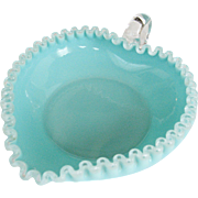 Fenton Silver Turquoise Heart Shaped Candy/Relish Dish