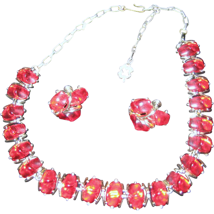 Star Necklace and Earrings - Red Lucite
