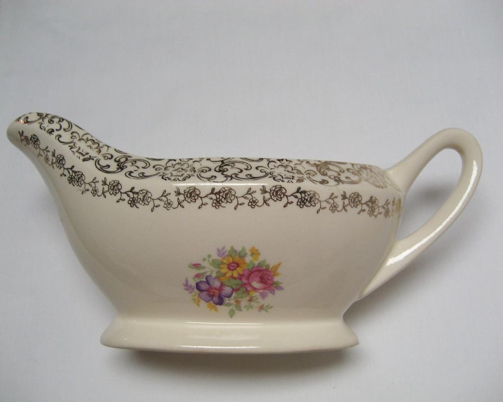 French Saxon China Gold Lace Gravy Boat and Oval Platter