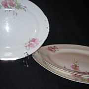 3 Homer Laughlin Wild Pink Rose Platters - Eggshell Nautilus