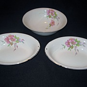 4 Homer Laughlin Wild Pink Rose Bowls - 3 Serving, 1 Finger Bowl