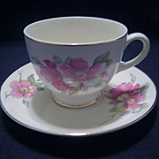 Homer Laughlin Wild Pink Rose Cup and Saucer - 5 Available