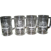 Set of 4 Etched Maritime Glass Mugs