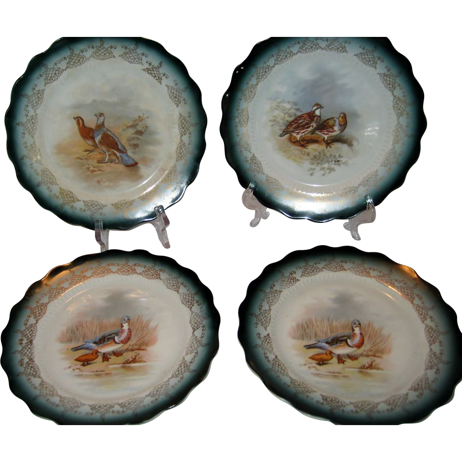 Set of 4 Sterling China Game Bird Plates - FREE SHIPPING
