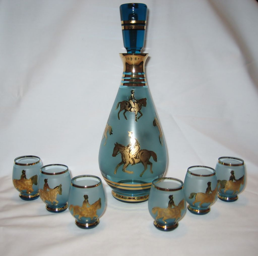 Derby Theme Decanter and Shot Glasses - Blue and Gold