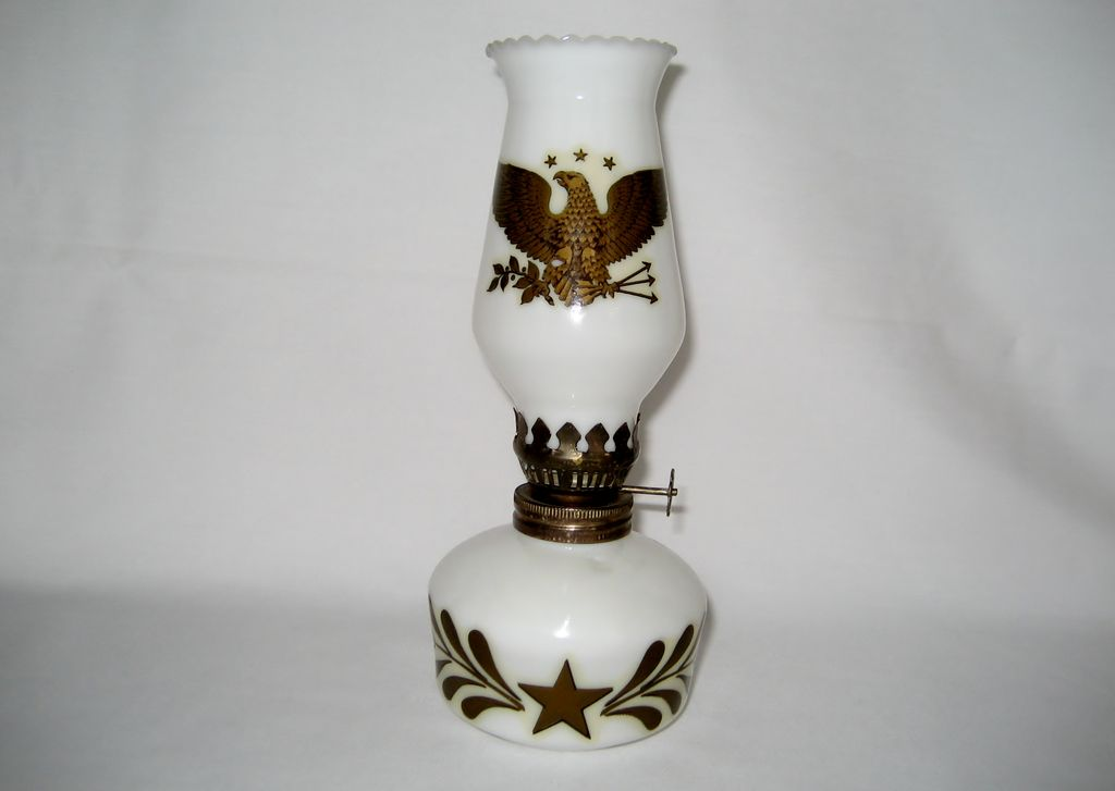 Miniature Milk Glass Oil Lamp - Hong Kong