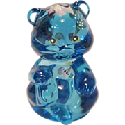 Fenton Hand Painted Sitting Bear - Blue