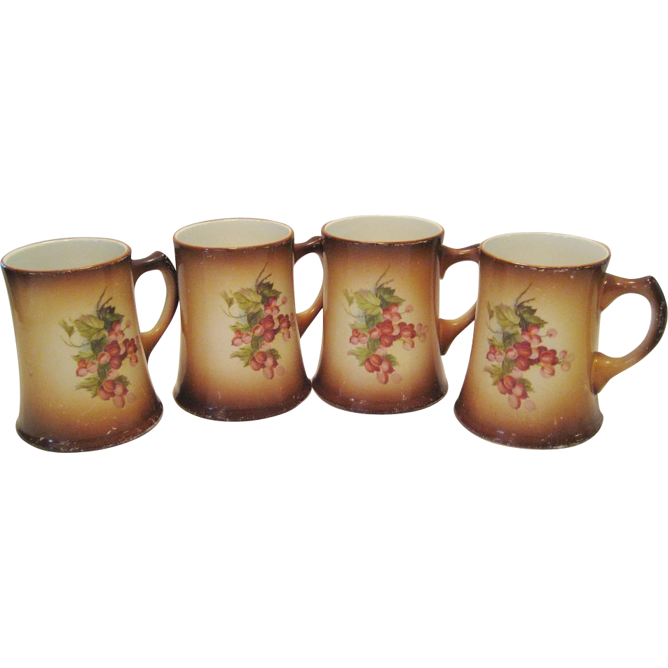 Set of 4 Homer Laughlin Mugs - Currant Pattern