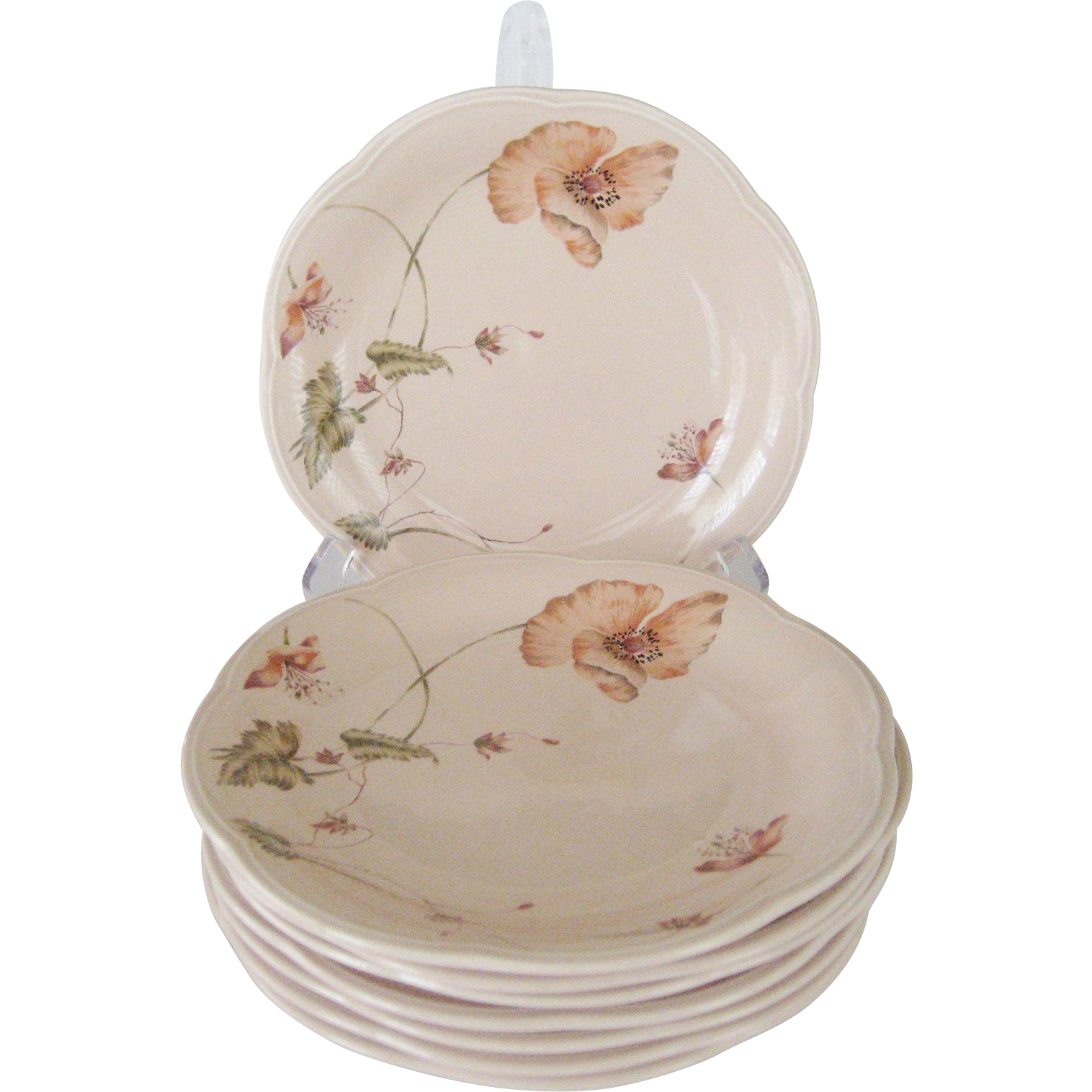 "Set of 8 Mikasa ""Oriental Poppy"" Salad Plates"