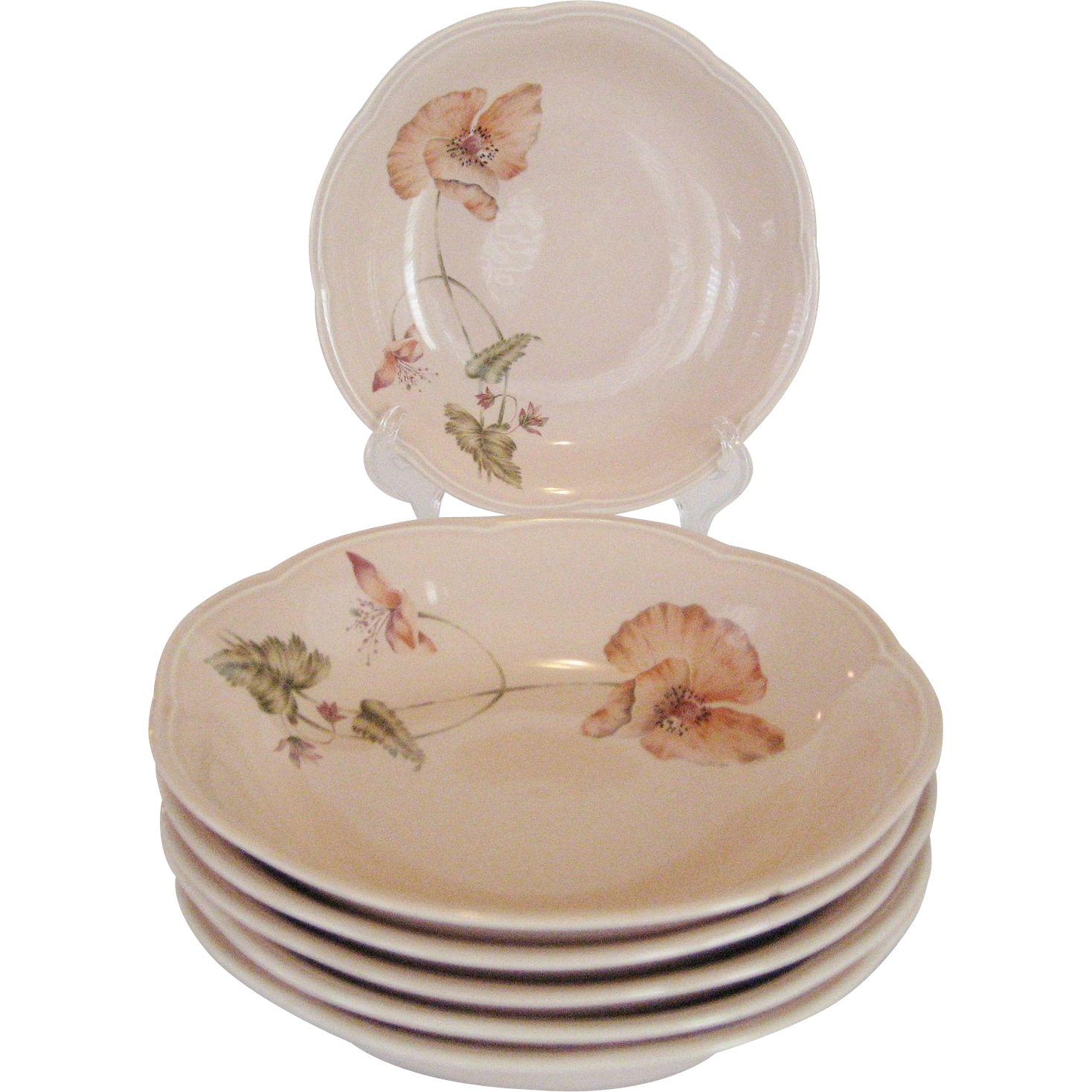 "Set of 6 Mikasa Rondo ""Oriental Poppy"" Soup Bowls"