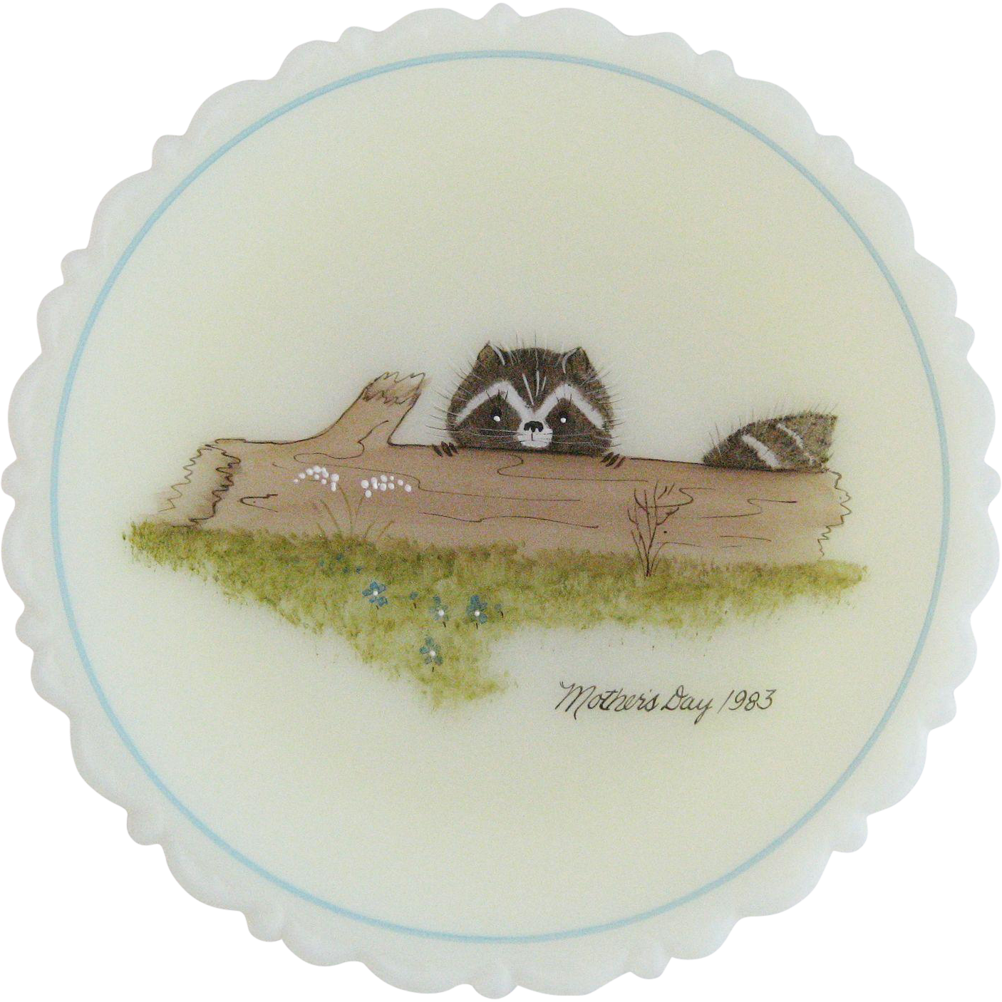 Fenton 1983 Mother's Day Plate - Raccoon