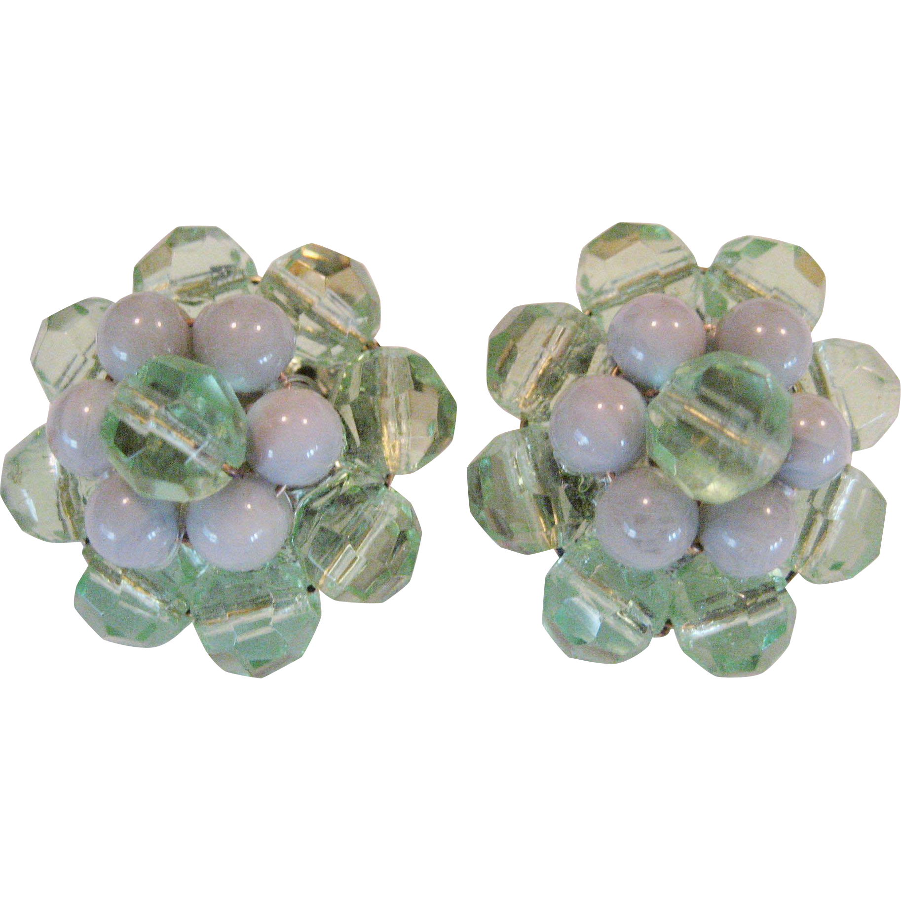 Green Beaded Clip-On Earrings - W. Germany