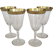 Set of 4 Etched Gold Band Water or Wine Goblets
