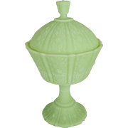 Fenton Lime Green Satin Paneled Daisy Covered Candy Box