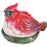Cardinal Bird On A Nest Salt and Pepper Shakers