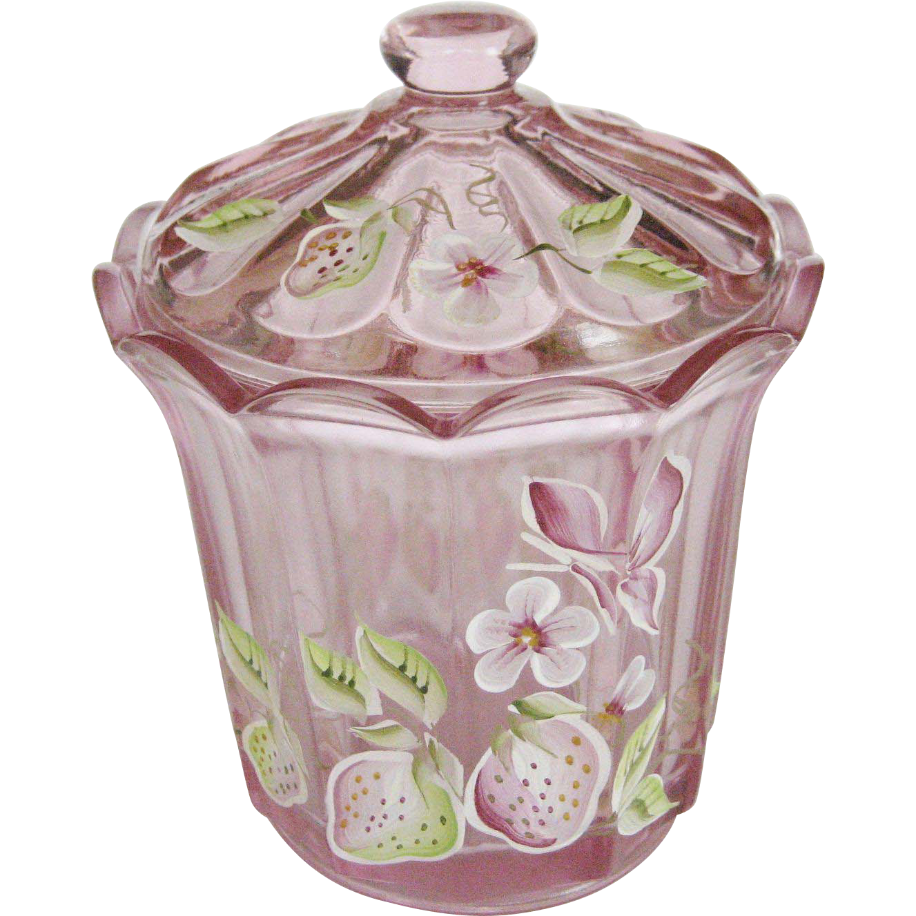 Fenton Clear Pink Glass Hand Painted Candy Jar With Lid