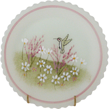 Fenton Hummingbird Cup Plate With Stand