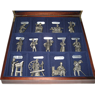 Franklin Mint Fine Pewter Set - Early American